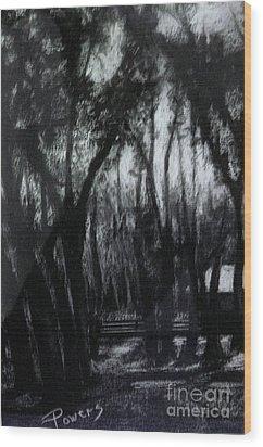 Wood Print featuring the drawing Midnight Moon by Mary Lynne Powers