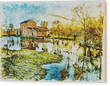 Wood Print featuring the digital art Mill By The River by Jaroslaw Grudzinski