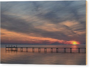 Wood Print featuring the photograph Mirrored Sunset Colors On Santa Rosa Sound by Jeff at JSJ Photography