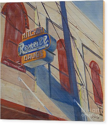 Mitchum's Drug Store Wood Print by Janet Felts