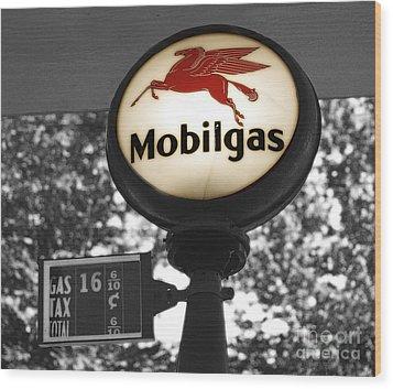 Mobil Gas Wood Print