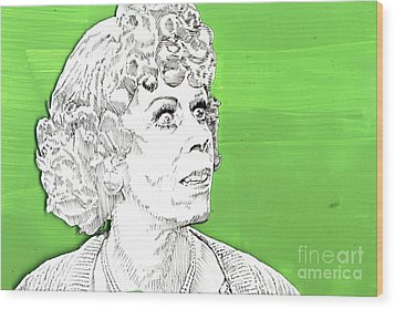Wood Print featuring the mixed media Momma On Green by Jason Tricktop Matthews