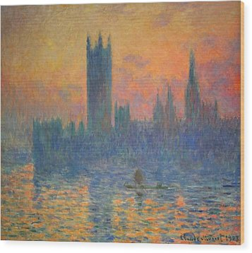 Monet's The Houses Of Parliament At Sunset Wood Print by Cora Wandel