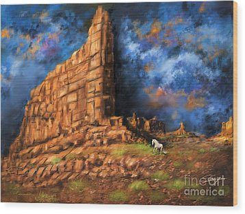 Wood Print featuring the painting Monument Valley by Sgn