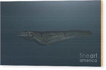 Mosasaur Swimming In Prehistoric Waters Wood Print by Kostyantyn Ivanyshen