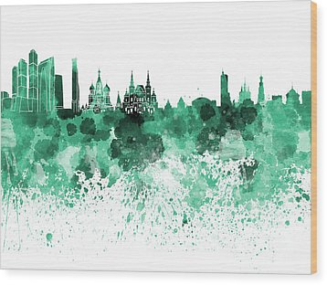 Moscow Skyline White Background Wood Print by Pablo Romero