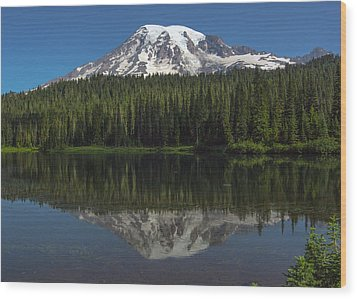Mount Rainier From Reflection Lake Wood Print