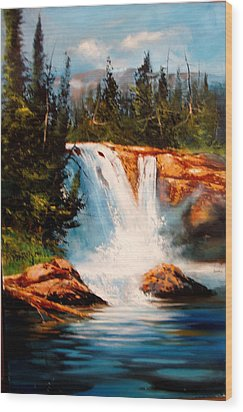 Mountain Falls Wood Print by Robert Carver