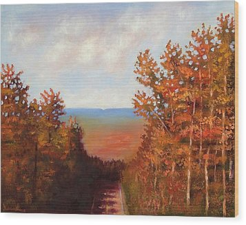 Wood Print featuring the painting Mountain View by Jason Williamson