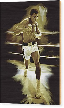 Muhammad Ali Boxing Artwork Wood Print by Sheraz A