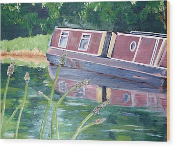 Narrowboat Wood Print