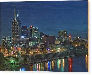 Nashville Cityscape Wood Print by Patrick Collins