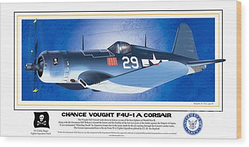 Wood Print featuring the drawing Navy Corsair 29 by Kenneth De Tore
