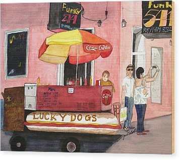 New Orleans Lucky Dogs Wood Print by June Holwell