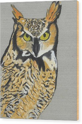 Wood Print featuring the painting Night Owl by Jeanne Fischer
