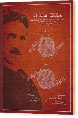 Nikola Tesla Patent From 1886 Wood Print by Aged Pixel