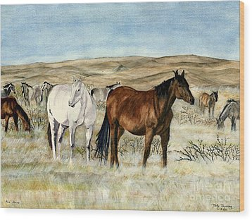 Wood Print featuring the painting Nine Horses by Melly Terpening
