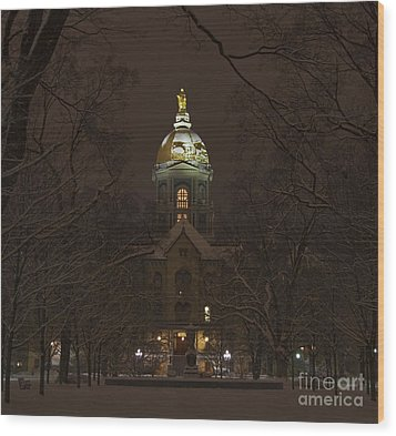 Notre Dame Golden Dome Snow Wood Print