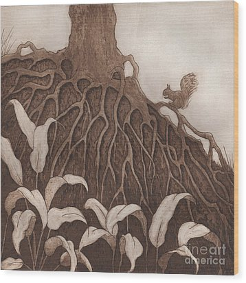 Nut Maze Wood Print by Suzette Broad