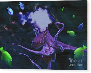 Wood Print featuring the mixed media Octopus by Steed Edwards