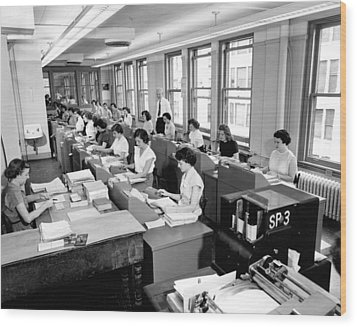 Office Workers Entering Data Wood Print by Underwood Archives