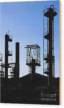 Oil Refinery Wood Print by Henrik Lehnerer