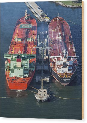 Oil Tankers Docked At Oil Pier, Down Wood Print by Dave Cleaveland
