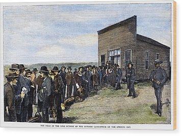 Oklahoma Land Rush, 1889 Wood Print by Granger