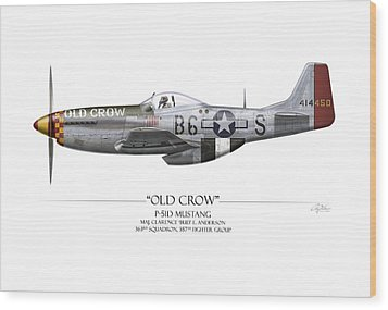 Old Crow P-51 Mustang - White Background Wood Print by Craig Tinder
