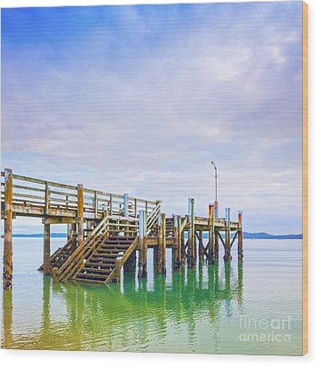 Old Jetty With Steps Maraetai Beach Auckland New Zealand Wood Print by Colin and Linda McKie