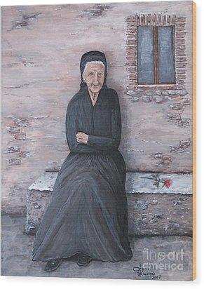 Old Woman Waiting Wood Print by Judy Kirouac