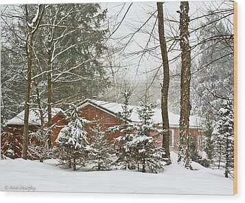 Wood Print featuring the photograph One Snowy Day  by Ann Murphy