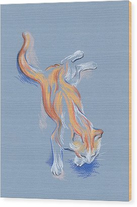 Wood Print featuring the pastel Orange And White Tabby Cat by MM Anderson