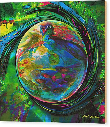 Orb Of Pavone Wood Print by Robin Moline