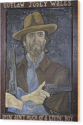 Wood Print featuring the painting Outlaw Josey Wales by Eric Cunningham