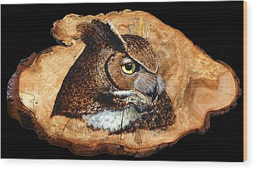 Wood Print featuring the pyrography Owl On Oak Slab by Ron Haist