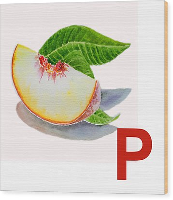 P Art Alphabet For Kids Room Wood Print by Irina Sztukowski