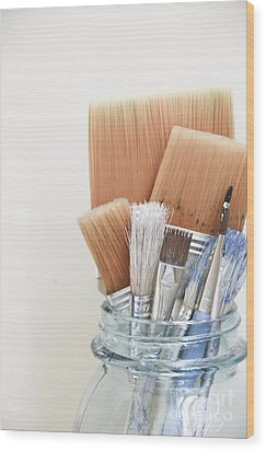 Paint Brushes In Jar Wood Print