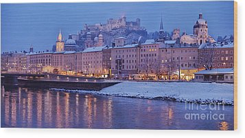 Panorama Of Salzburg In The Winter Wood Print by Sabine Jacobs