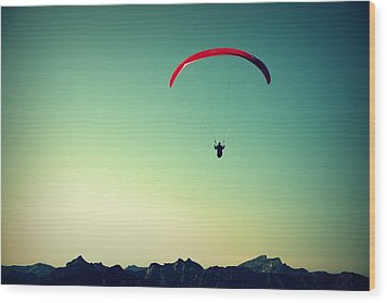 Paraglider Wood Print by Chevy Fleet