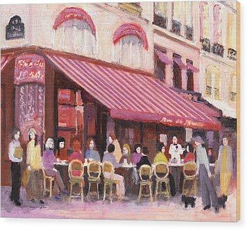 Paris Cafe Bar Wood Print