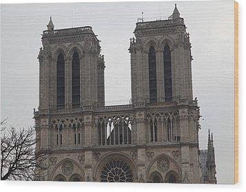 Paris France - Notre Dame De Paris - 01133 Wood Print by DC Photographer
