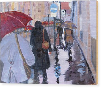 Paris In The Rain Wood Print by MaryAnne Ardito