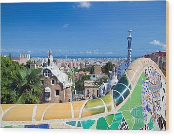 Park Guell In Barcelona Wood Print by Michal Bednarek