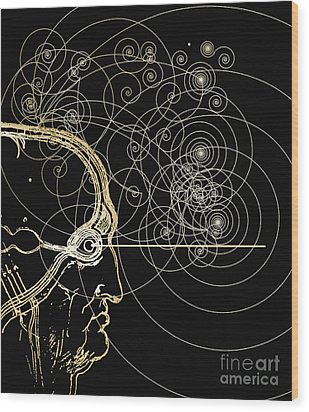 Particle Tracks And Head Wood Print by Mehau Kulyk