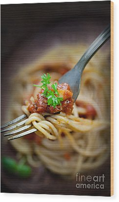 Pasta With Tomato Sauce Wood Print by Mythja  Photography