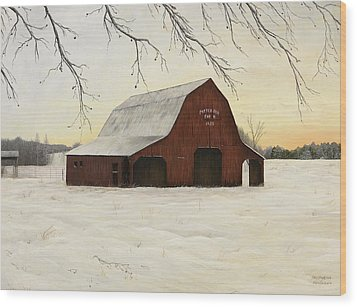 Patterson Barn Wood Print by Mary Ann King