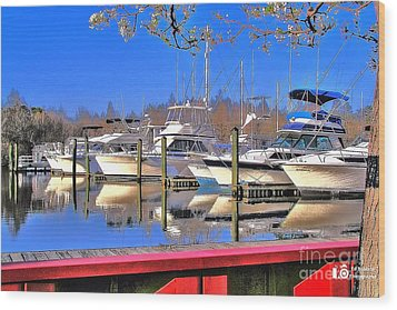 Wood Print featuring the photograph Peaceful Marina by Ed Roberts