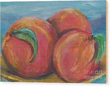 Peaches Wood Print by Eric  Schiabor