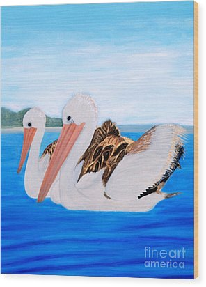Pelicans.   Inspirations Collection. Wood Print